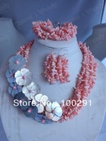 FCJ360 Fashion African Coral necklace bracelet earring Jewelry Set For Wedding Bridal