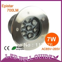 Free shipping Fedex/DHL 10pcs/lot 7W Led Underground Lamps /garden led spot lamp/Stainless steel/ IP68/85V-265V/CE&RoHS