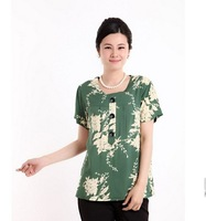 Free Shipping Lady's Short Sleeves Flower Printed Blouse