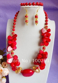 Free ship!!!  Amazing red leaf tube coral charm coral necklace bracelet earring set