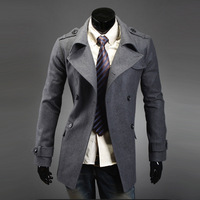 2013 autumn and winter male slim woolen trench outerwear double breasted trench thermal trench