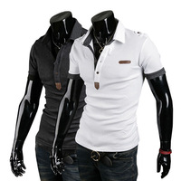 Polo shirt men's clothing epaulette short-sleeve fashion embroidery leather male polo shirt