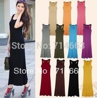 HOT Women Dress H-shaped Floor-length Dress Pleated Dress Shoulder-Straps Dress 12COLORS