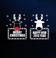 Reindeer Wall Sticker Christmas PVC wallpaper New Year Shop Window Glass Door Decor