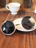 Ultralarge 2013 the trend of the circle frame myopia flip sunglasses vintage punk sun glasses