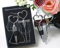 High quality stainless steel wine opener and wine stopper gift box packing wine tool sets lovely wedding gifts