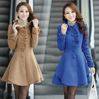 2014 slim long woolen design women's wool coat outerwear