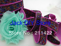 5 Yards Hot Pink Rainbow Glitter Elastic 5/8 Inch  for headband Hair Accessories