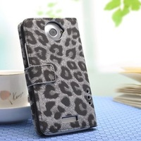 Free Shipping! Hot Selling Leopard Leather Wallet Case for HTC One X with Stand 4 Colors Option