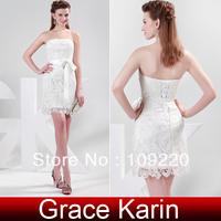Fashion Grace Karin Stock Strapless Short Lace Evening Dress Sheath Prom Dress Homecoming Girls Clubwear Party Dress CL4472