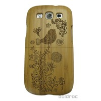 High Quality Bamboo Wood Bird Pattern Hard Case Cover For Samsung Galaxy S3 i9300 Free Shipping