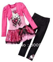 New children's clothing sets kids girls kitty cartoon tutu dress dresses  + pants girl 2 pcs set XZQ