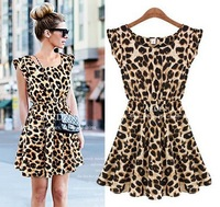 Free Shipping 2013 Women One piece Dress Chiffon Leopard print Casual Sundress Clothing