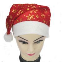 Christmas hat gold velvet print christmas cap dress prom decoration props performance cap  santa claus