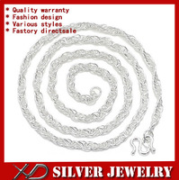 XD Y530  Popular 990 pure silver jewelry necklace unisex real silver twieted chain suit men and women 20inch