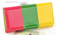 2013 Fashion Women Wallet PU Leather Patchwork Candy Color Purse Coin Purses