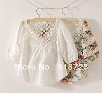 new brand summer autumn za** three quarter sleeve girls shirts fashion 2T-10T 100% cotton flower 3 colors with lace