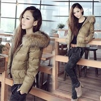 KIS0215 Free shipping Women Warm Jacket Coat Patchwork Faux Fur Hoodies Short Down Coat