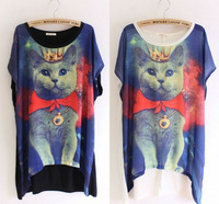 Chic Loose leisure womens O-Neck  Cat Galaxy Space Print T-shirt Tee