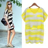 free shipping 2013 new items summer fashion women casual print chiffon plus size dresses 8284