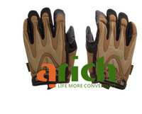 Free Shipping+Full Finger MP Leather and Fabric Sports Gloves with Velcro Closure for Outdoor (Brown)