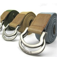 Free shipping!Top-quality casual belt Men's thicken canvas belt with double loop buckle