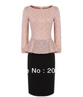 Formal Career Work Cute Sexy Pencil Dresses. Pink Stretchy Lace Dress Three quarter  Sleeves Square neck Evening Party  IR079