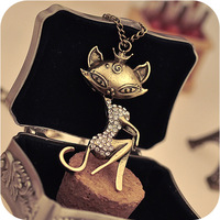 Free shipping sexy kitty cat girl retro simulated diamond necklace sweater chain