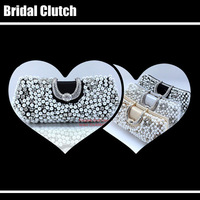 2013 luxury Diamond Pearl Crystal Beaded Clutch Bridal Bridesmaids Wedding Evening Party Clutches Women's Day Clutch Bag