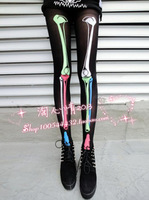 Freeshipping 2013 new Funny Punk  Harajuku Printed Color Skull  Pantyhose Punk Women Legging Stocking