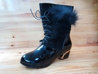 Short in size genuine leather comfortable boots cowhide thick heel lacing velvet boots cotton boots 39