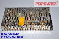 150W 12V12.5A AC/DC switch power supply, single output, CE/RoHS/FCC/IEC, 2-year warranty