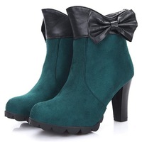 Ultra high heels martin boots scrub round toe autumn and winter boots 13 bow thick heel boots