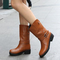 2013 autumn thick heel boots single female spring and autumn medium-leg boots martin boots fashion with the boots