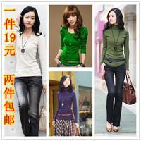 fall 2014 free shipping  spring women's cotton V-neck o-neck long-sleeve basic turtleneck shirt t-shirt long johns