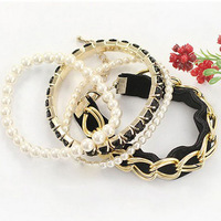 Black cord match metal pearl several pieces  Bracelet set for wedding party