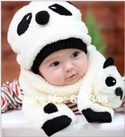 Retail - 2 Pcs/set Baby Panda Hat+Scarf Two Piece Set Children Panda Modeling Caps Kids Clothes Accessories