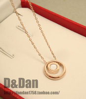 Bv shell color shell pendant 18k rose gold titanium steel necklace Women colnmnaris chain jewelry gift