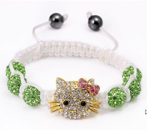 Free shipping! High Quality Micro Pave Green OWKW  Beads pink Hello kitty Bangles Crystal Shamballa Bracelet women jewelry(China (Mainland))