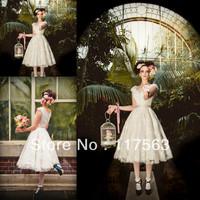 2013 hot sale short a line cap sleeve lace tea length vintage wedding dress HS099