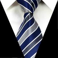 Blue Gray Striped 3.4'' 100% Silk Jacquard Classic Woven Man's Tie Necktie FS117