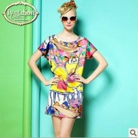 free shipping 2013 new items summer fashion women casual print chiffon plus size dresses 8928