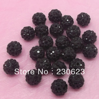 wholesale free shipping 10mm Black  60 PC Cz Crystal Disco 5row  Shamballa Beads fit Adjustable Bracelet V0514