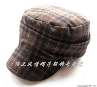 Fashion  Hat cadet Military Cap Hat autumn and winter thermal coffee wool  Cap
