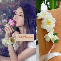 Free Shipping MOQ$18 new design fake flower bracelet flower wristband bridal bracelet (also can be headwear) for photography