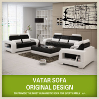 VATAR lounge sofa set ,pure leather sofa ,round sectional furniture