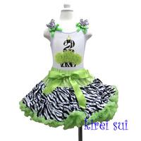 Lime Green Zebra Pettiskirt with 2nd Birthday Zebra Cupcake White Tank Tops 2pcs Party Dress 1-7Y