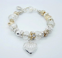 925 sterling silver fashion lovely white bead charming Drum Diamond Heart pendant bracelet/chain free shipping