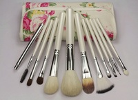 NEW 12PCS White Handle Cosmetic Brush Set With Free Floral Pink Pouch Free shipping