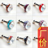 Wholesale 50pcs crown rhinestone mobile phone dust plug mp3 dust plug earphones hole 3.5mm plug earphones